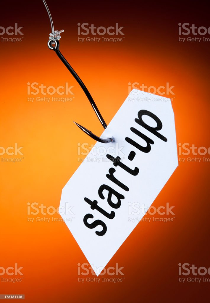 start-up word on hook royalty-free stock photo