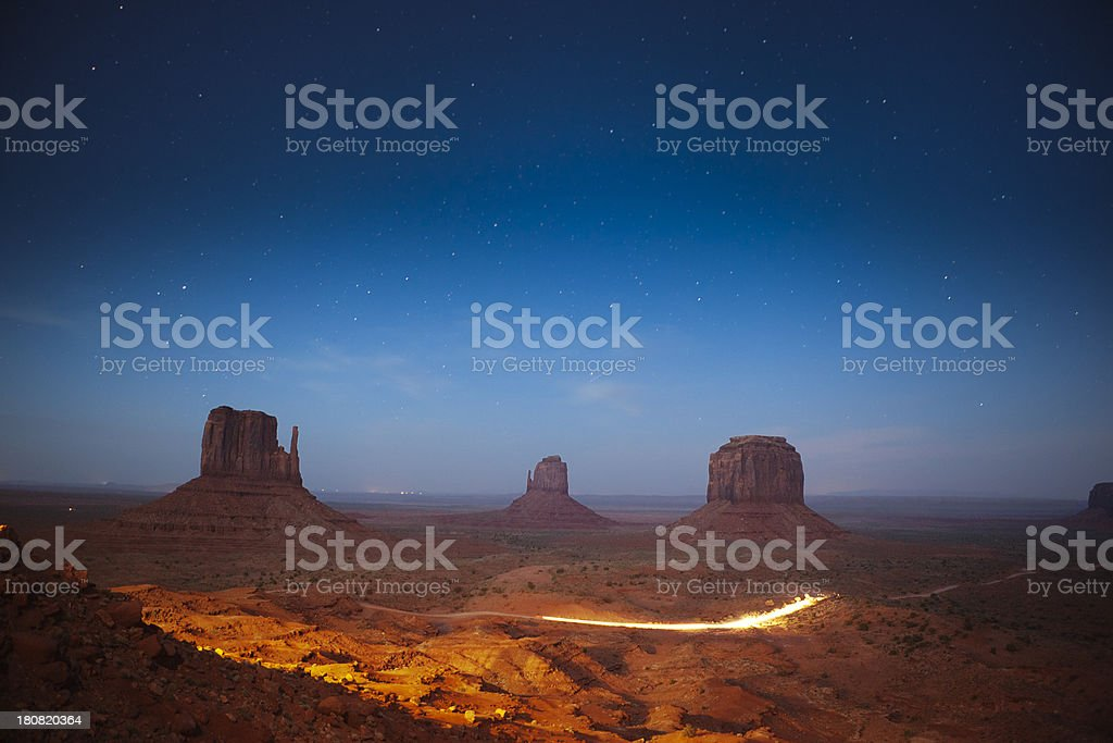 Stary Night Sky of Monument Valley in American Southwest royalty-free stock photo