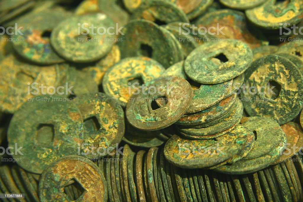 stash of old chinese coins royalty-free stock photo