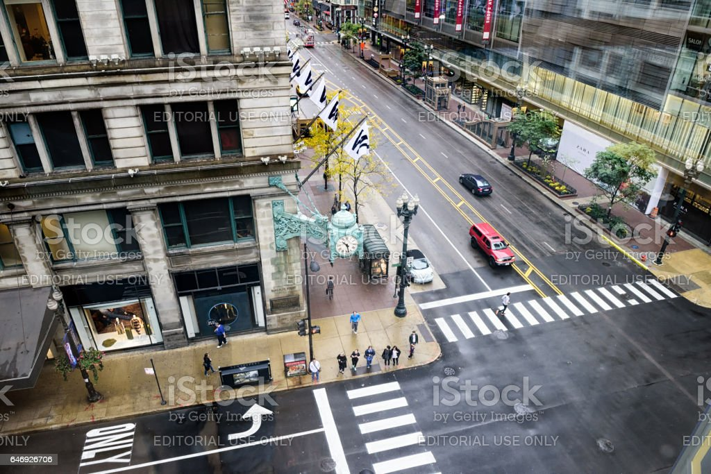 State and Randolph Street intersection, downtown Chicago stock photo