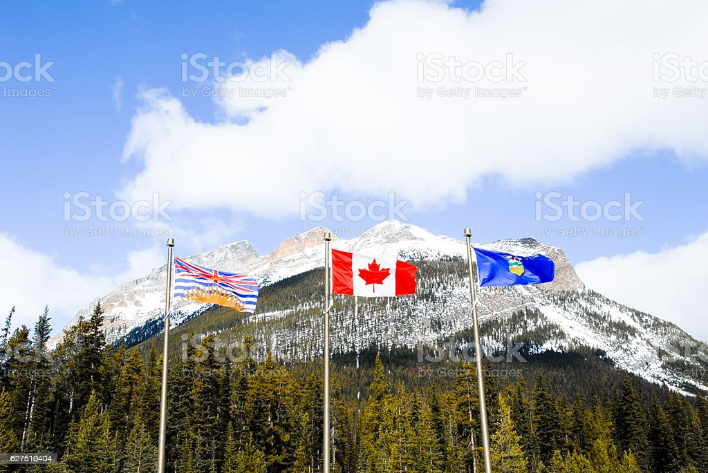 State Boundary of Albarta and British Columbiaon, Canadian Rockies stock photo