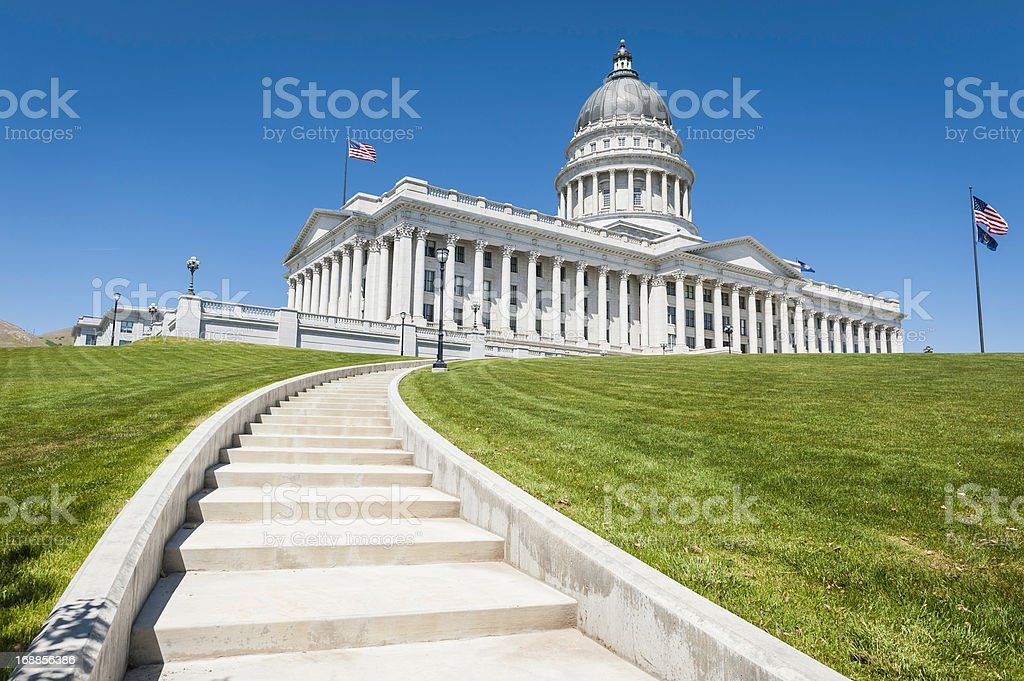 State Capitol Building Stars and Stripes Salt Lake City Utah stock photo