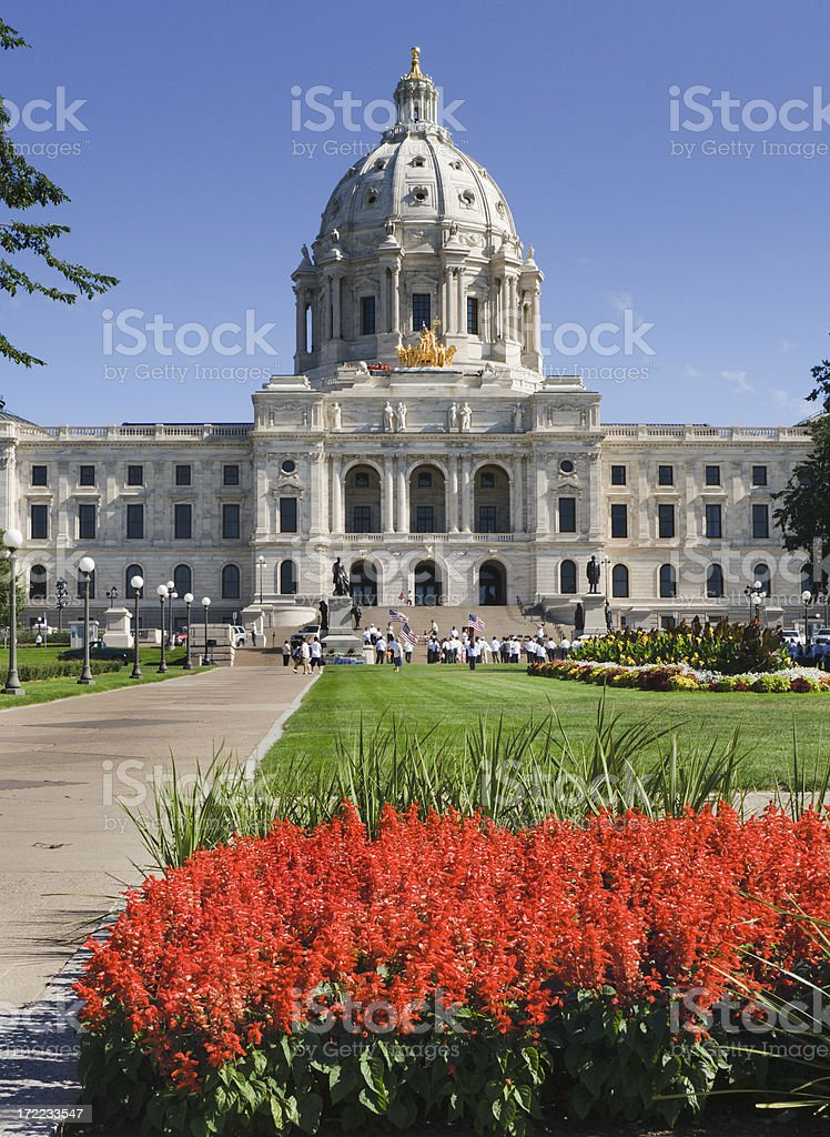 State Capitol of Minnesota & Garden Vt royalty-free stock photo