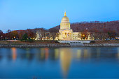 State Capitol Reflecting in the Kanawha River Charleston West Virginia
