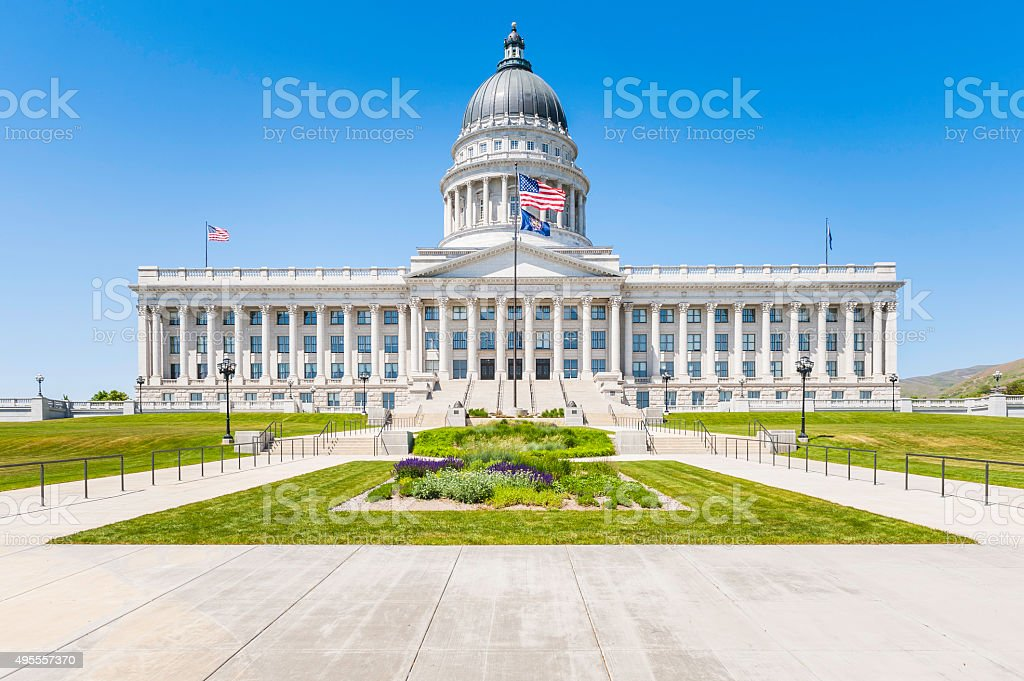 State Capitol Stars and Strips Salt Lake City Utah USA stock photo