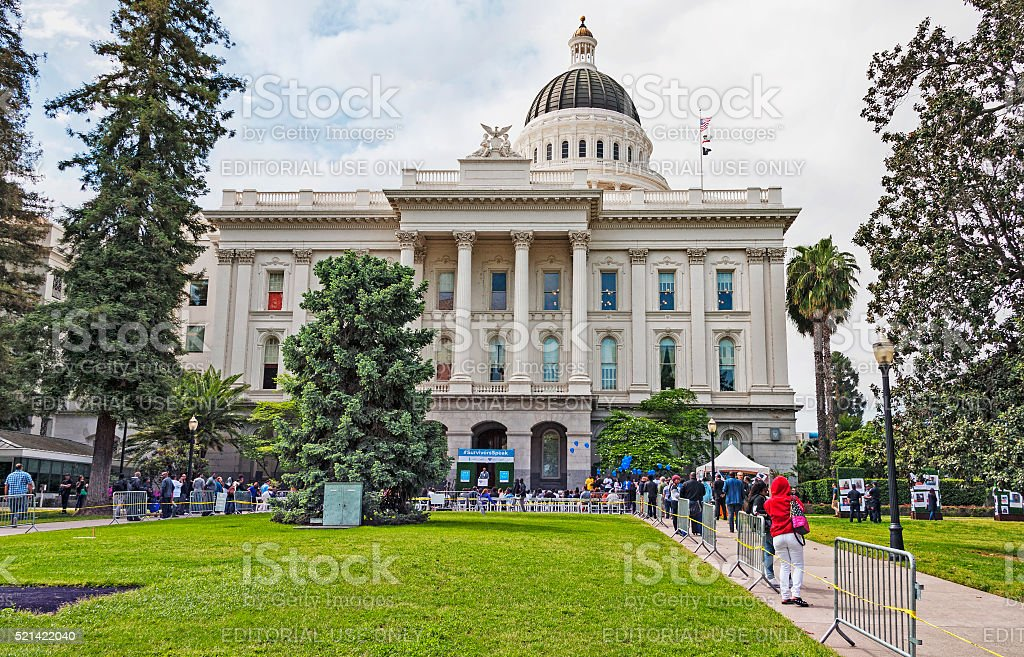 State Capitol with Crowd and Demonstration stock photo
