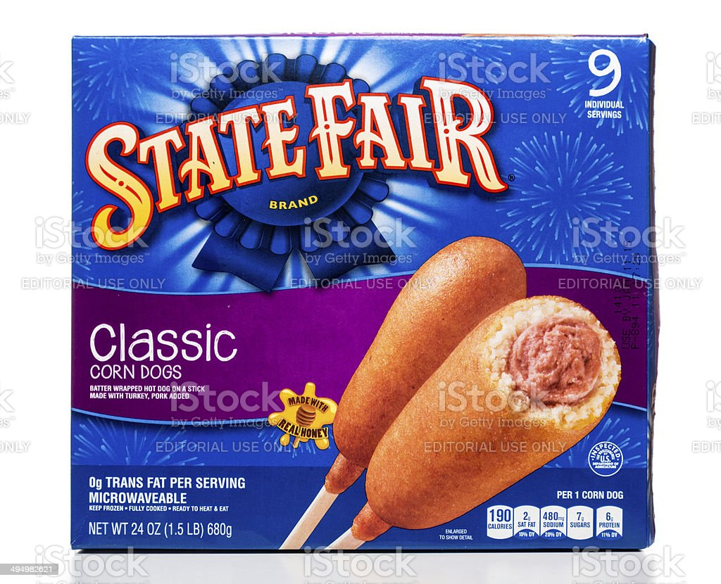 State Fair classic corn dogs box stock photo