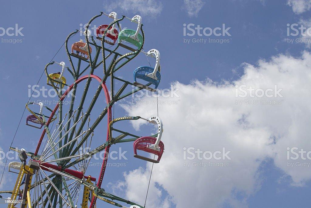 State Fair Ferris Wheel Against a Clear Blue Sky stock photo