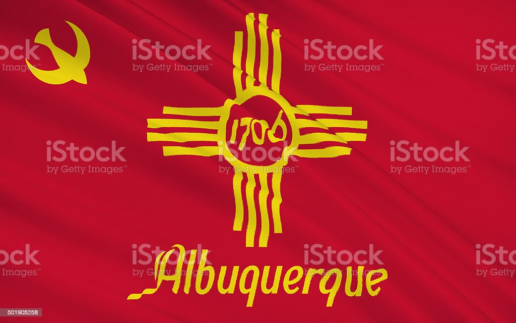 State Flag of Albuquerque stock photo