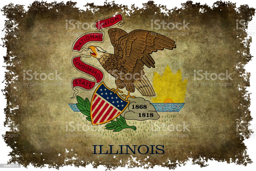 State flag of Illinois with vintage textures and edges stock photo