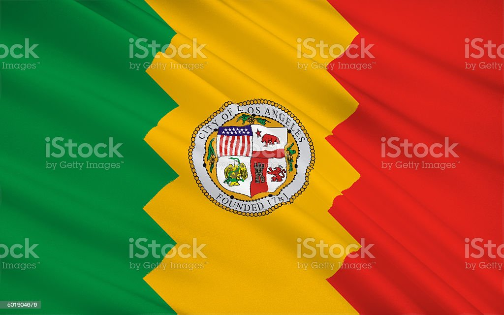 State Flag of Los Angeles stock photo