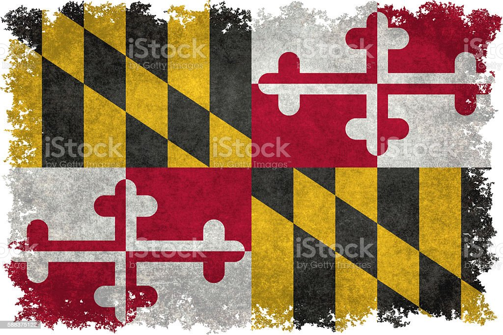 State flag of Maryland with vintage distressed textures and edges vector art illustration