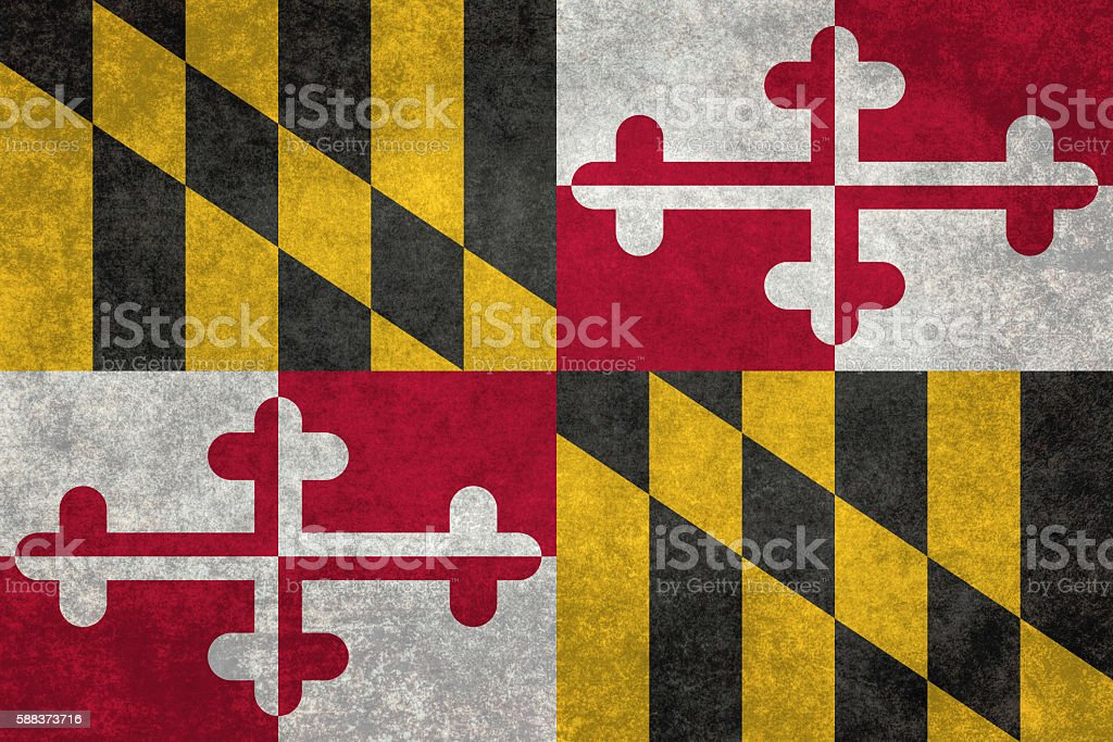 State flag of Maryland with vintage distressed textures vector art illustration