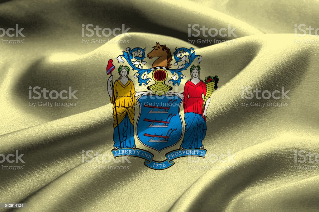 US state flag of New Jersey stock photo