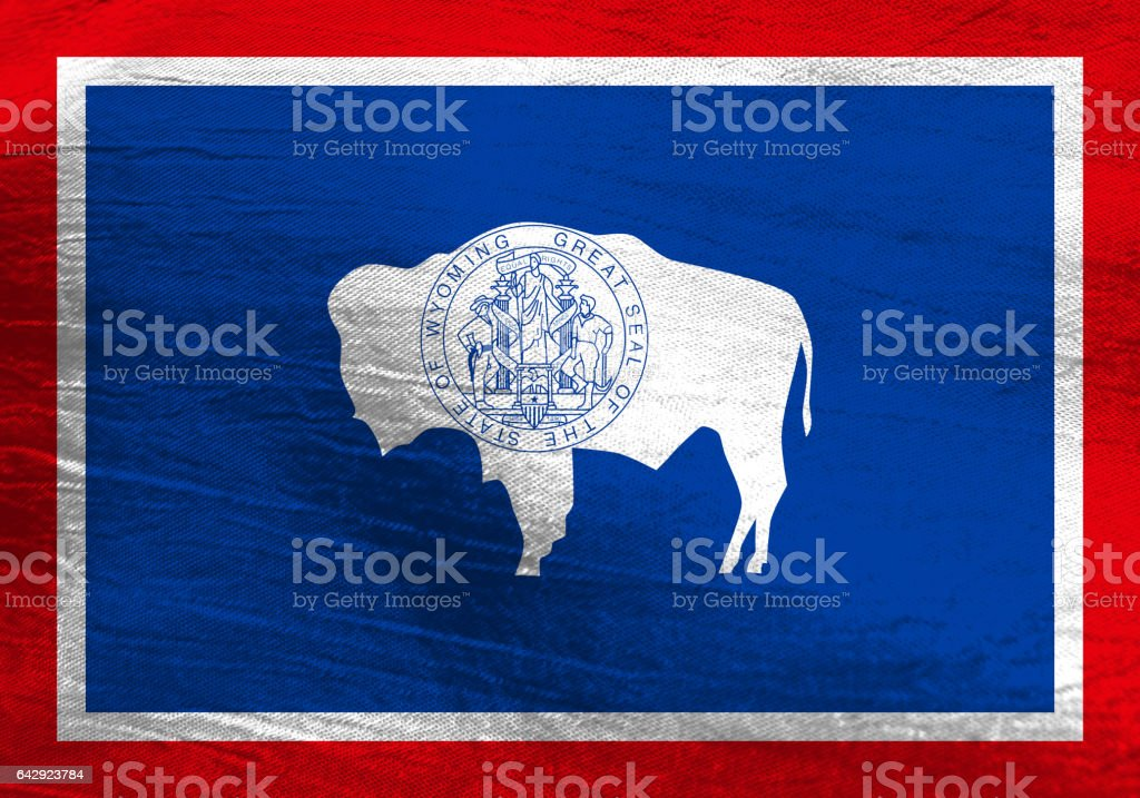 US state flag of Wyoming stock photo