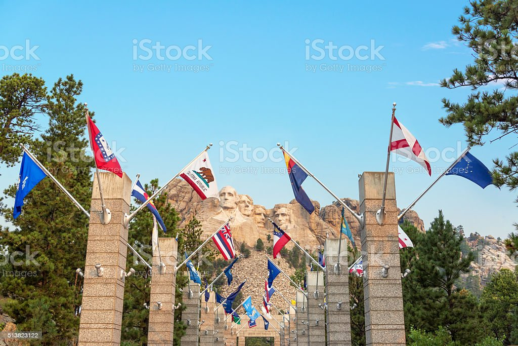 State Flags and Mount Rushmore stock photo