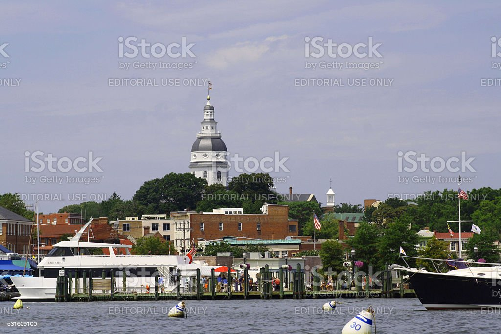 State House in Colonial Annapolis, Maryland, USA stock photo