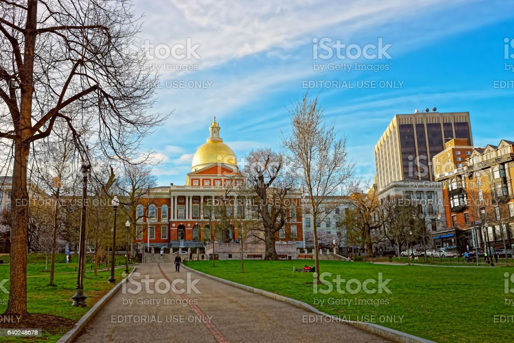 State Library of Massachusetts at Boston Common public park stock photo