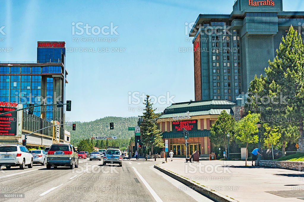 State Line Lake Tahoe California Nevada Border Buildings and Visitors stock photo