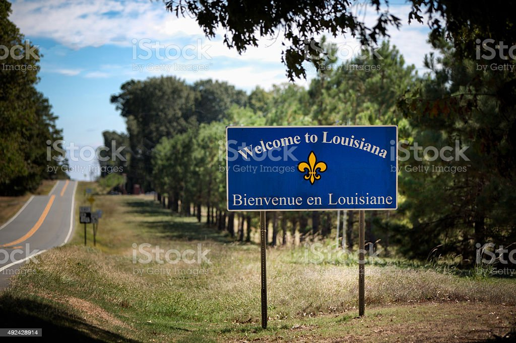 State Line Sign Saying Welcome to Louisiana stock photo