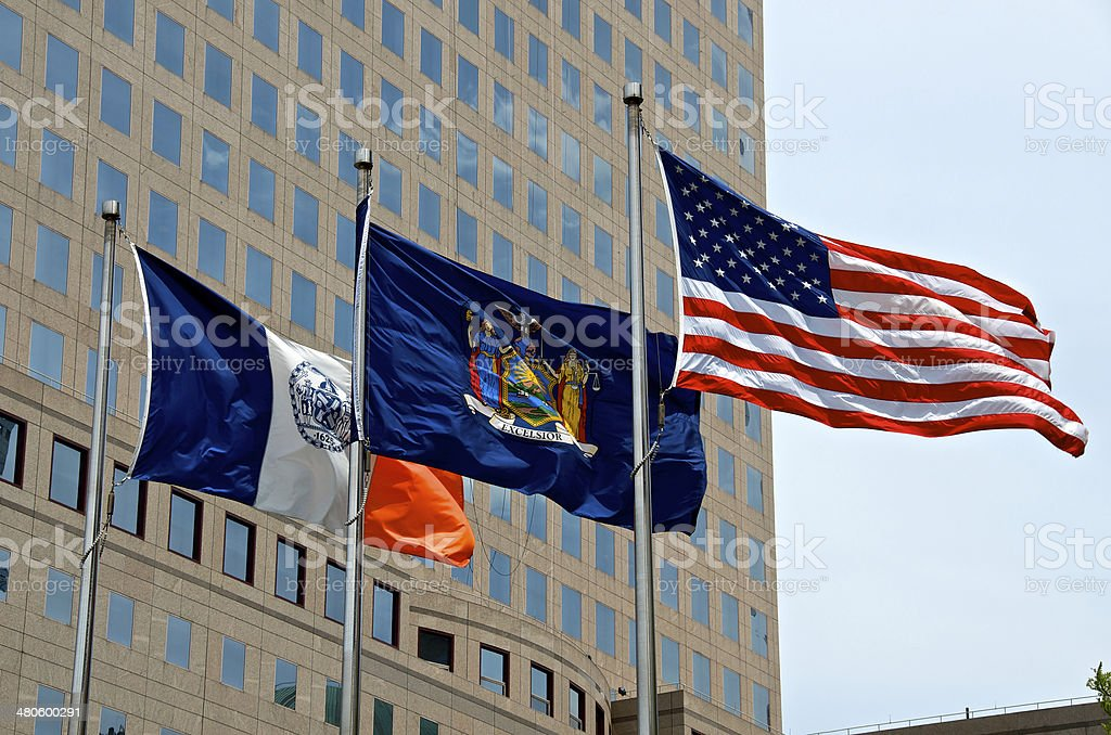 USA, N.Y. State & NYC Flags,  Manhattan, New York City stock photo