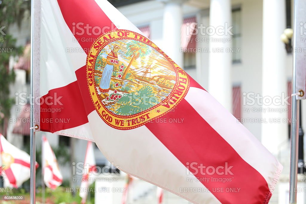State of Florida Seal on Flag at Capitol stock photo