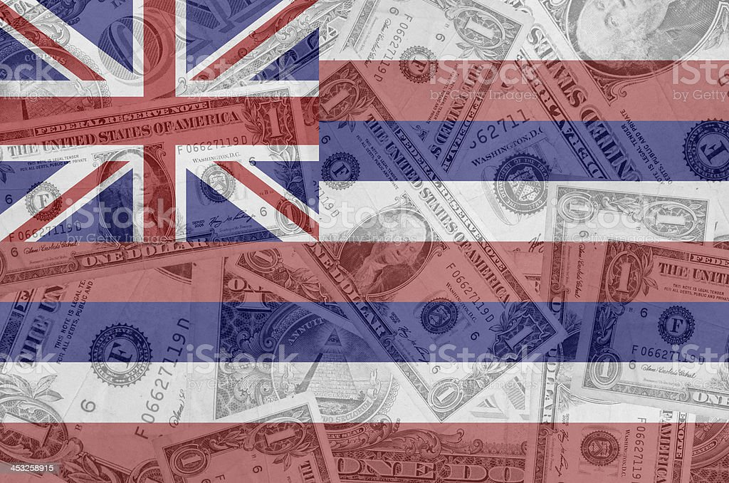 US state of hawaii flag with transparent dollar banknotes stock photo
