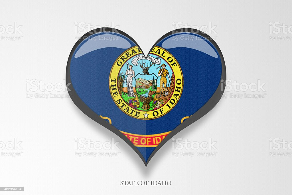 State of Idaho Heart Shape on Gradient Background stock photo