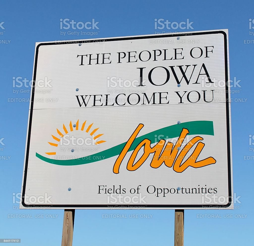 State of Iowa Welcome Sign stock photo