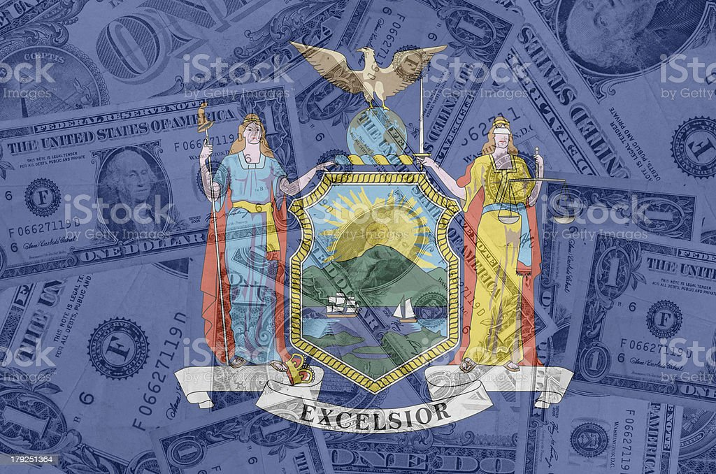 US state of new york flag with transparent dollar banknotes stock photo
