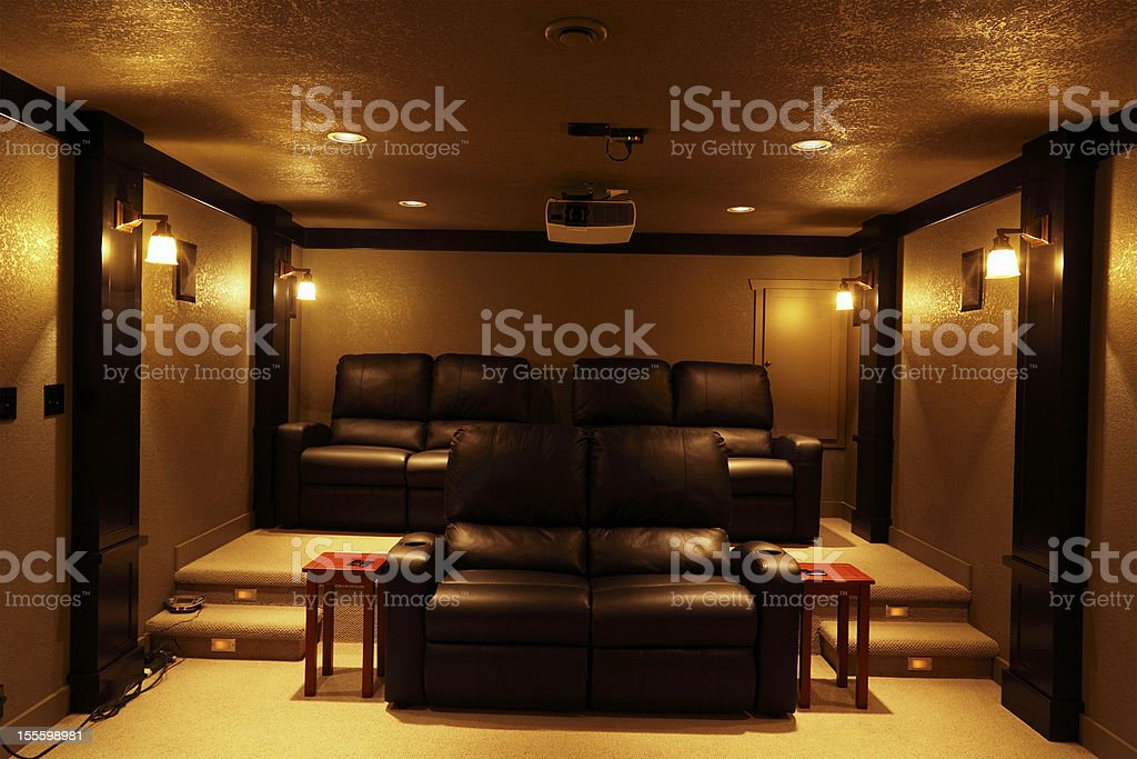 State of The Art Home Theatre With Seating stock photo