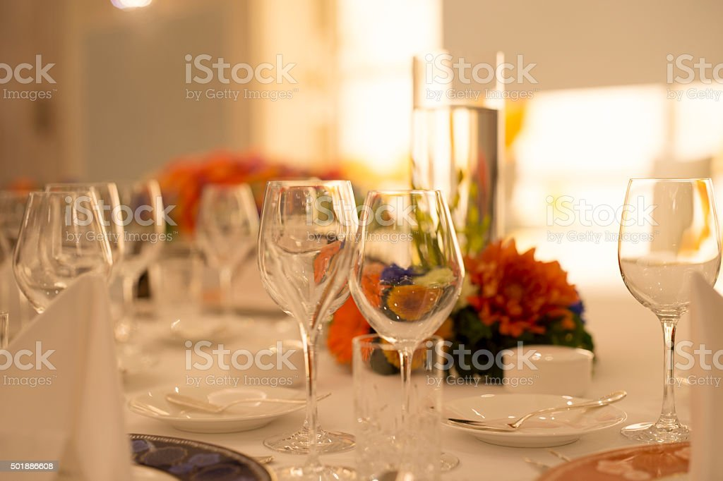 State of the desk at  time of the wedding reception stock photo