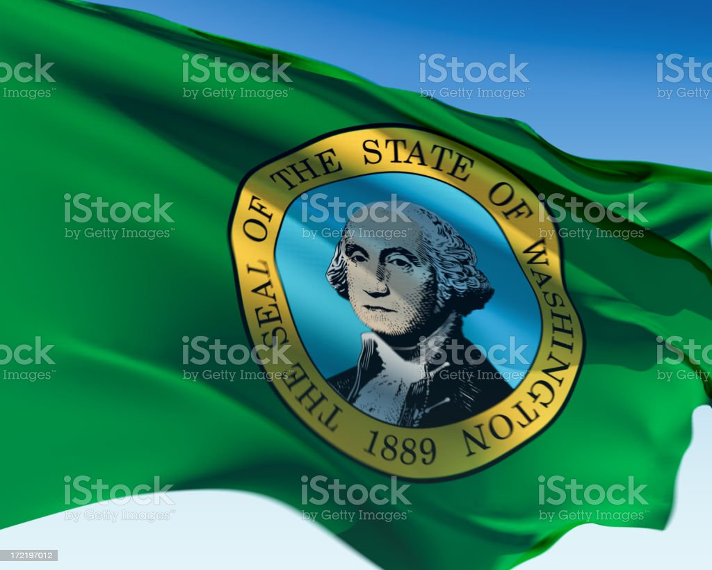 State of Washington flag flying in the air stock photo