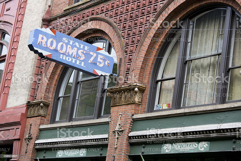 State Rooms Hotel Sign, Old Town Pioneer Square Seattle royalty-free stock photo
