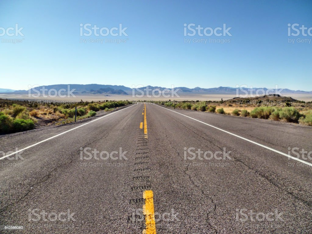 State Route 190 in Death Valley National Park, California, USA stock photo