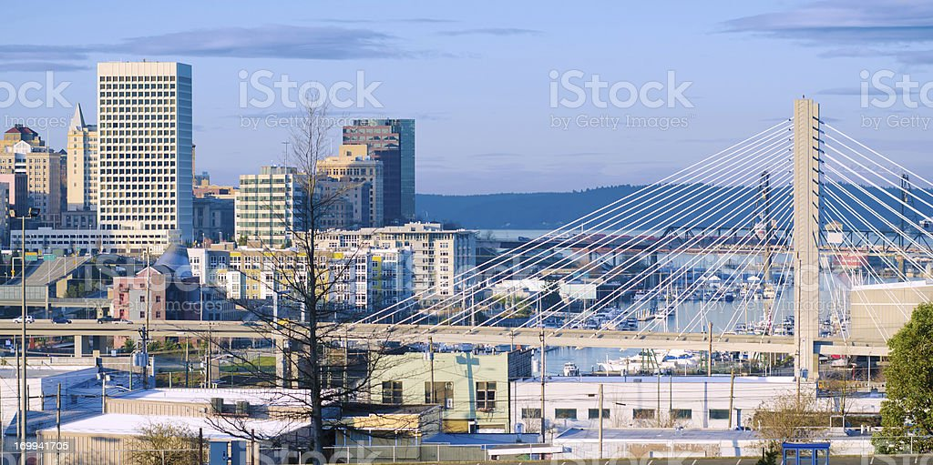 State route 509 bridge and downtown in Tacoma, WA stock photo