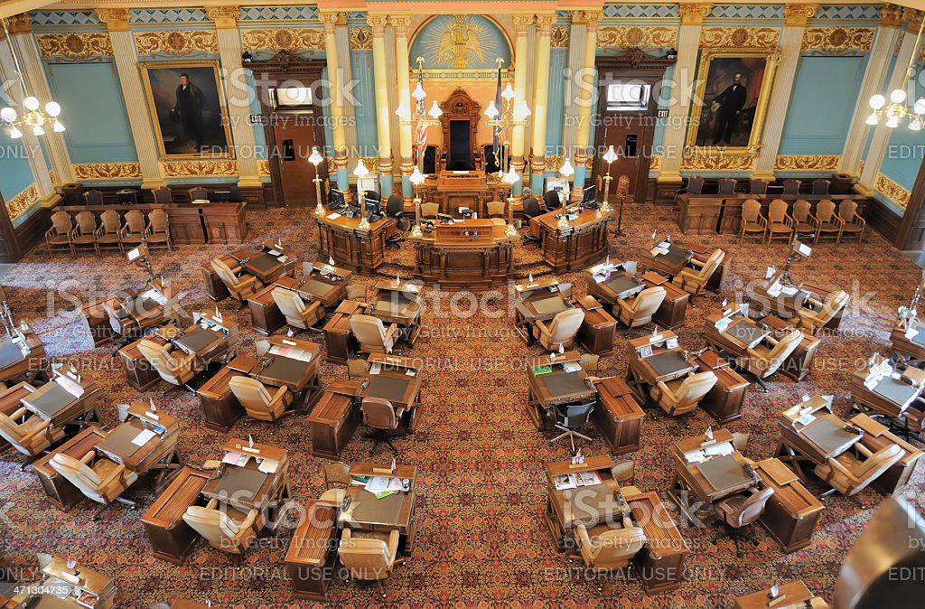 State Senate Chamber, Lansing Michigan stock photo