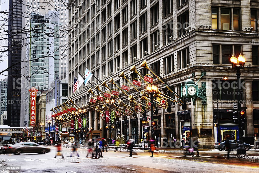 State Street at Christmas time, downtown Chicago stock photo