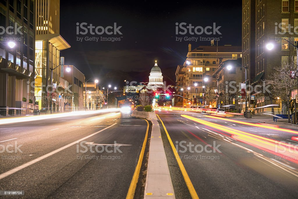 State Street Capitol Building Salt Lake City at Night stock photo