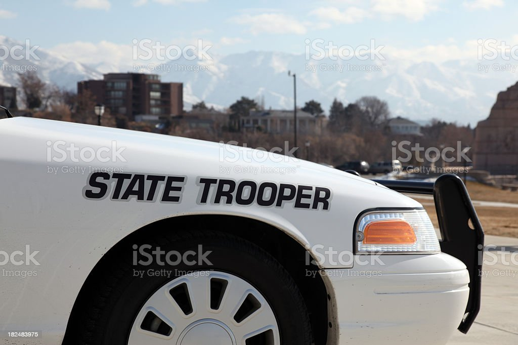 State Trooper Police Car in front of Office Capitol Building stock photo