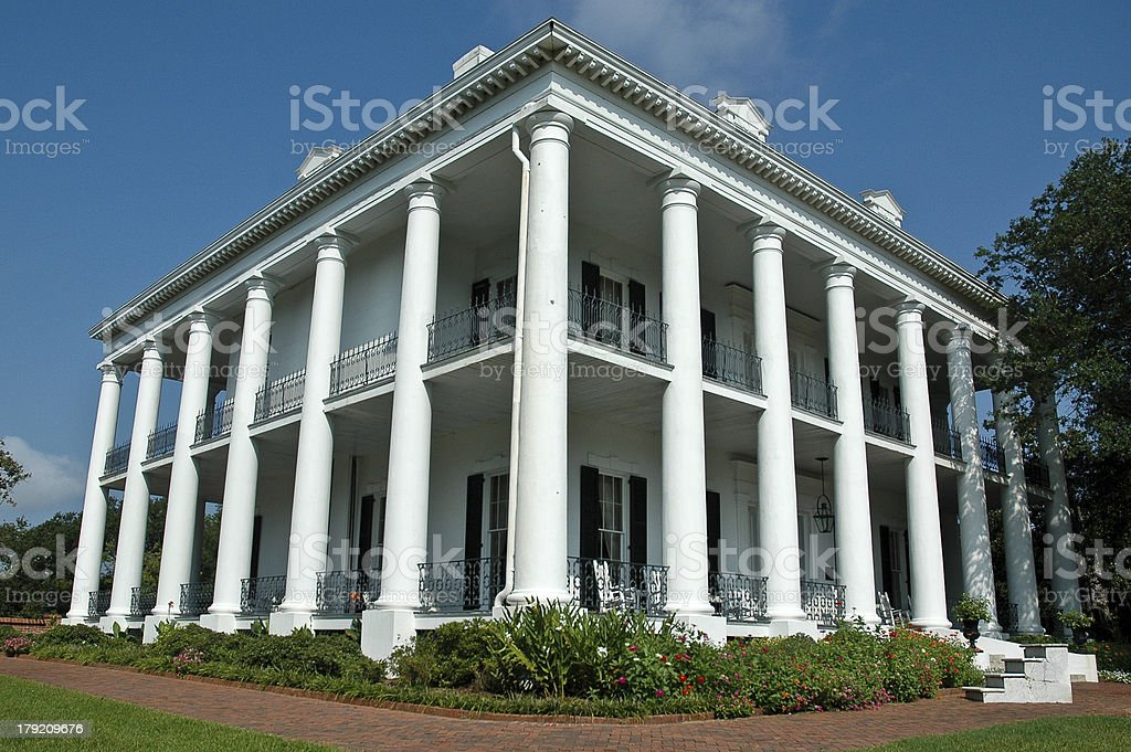 Stately Greek Revival Mansion stock photo