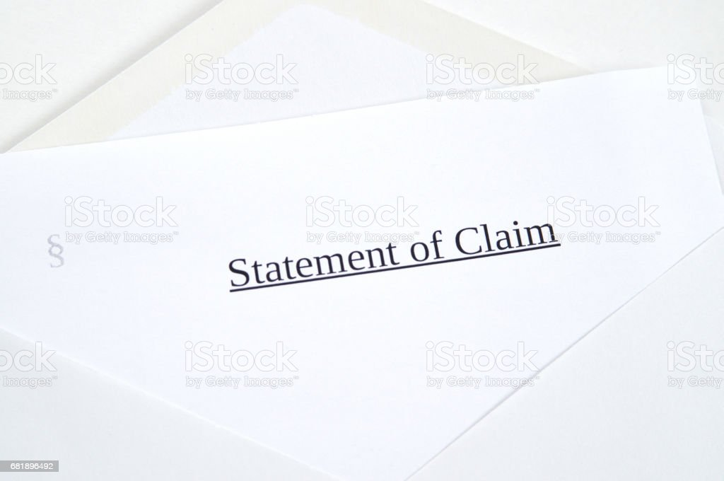 Statement of Claim printed on white paper and envelope, white background stock photo