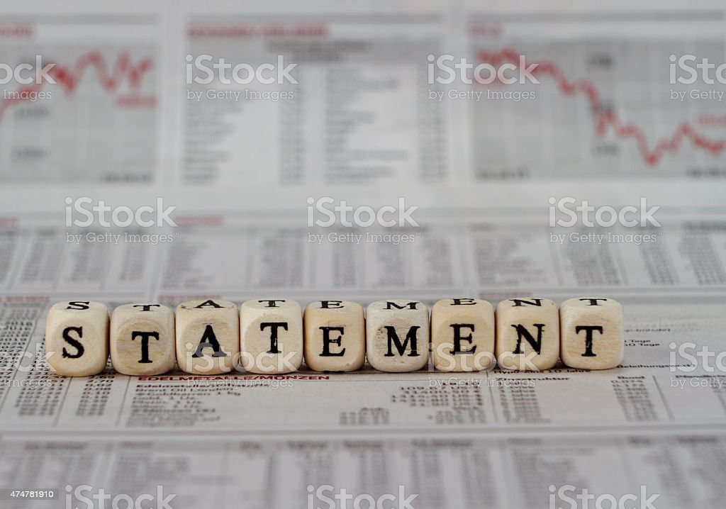 Statement stock photo