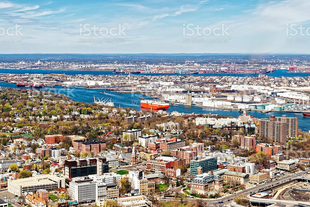 Staten Island and oil storage in Bayonne stock photo