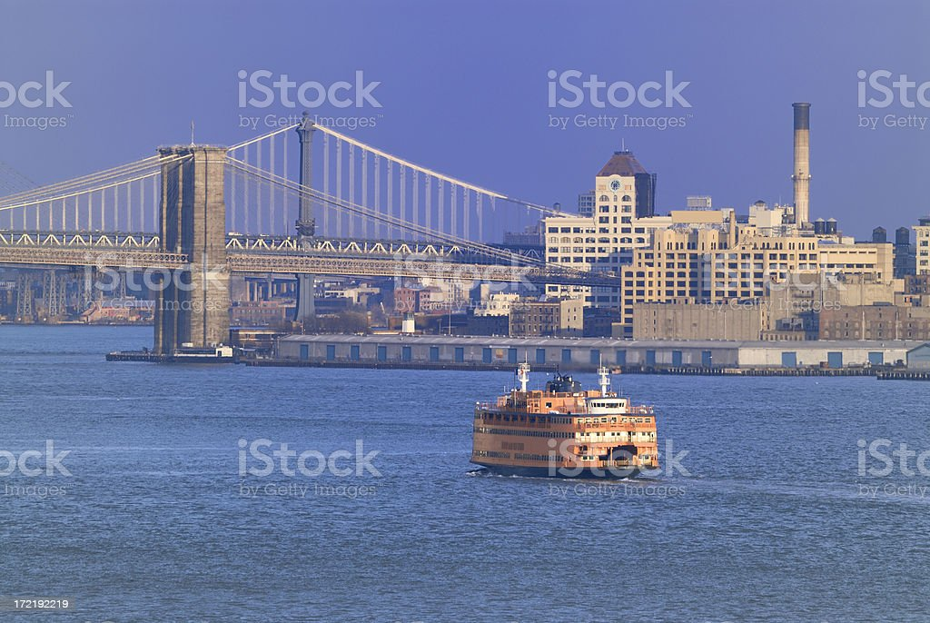 Staten Island ferry approaching Manhattan stock photo