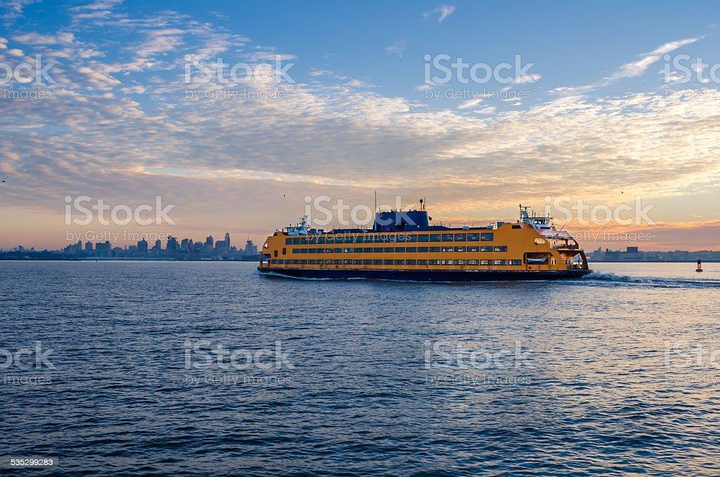 Staten Island Ferry at Dawn stock photo