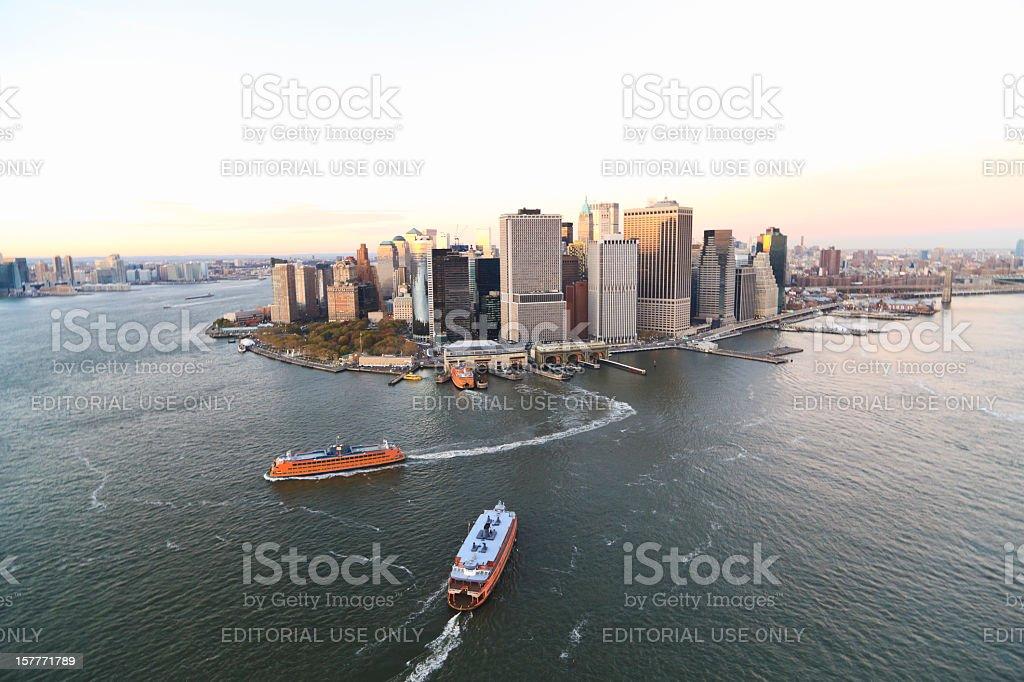 Staten Island Ferry in Lower Manhattan stock photo