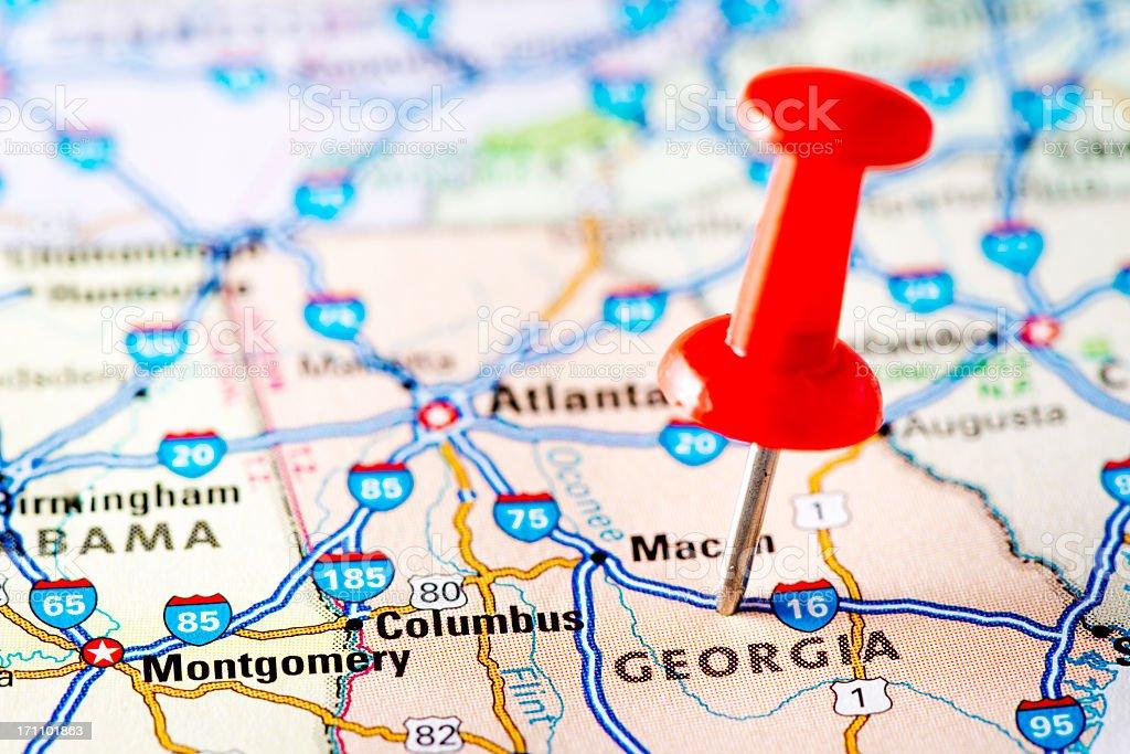 USA states on map: Georgia stock photo