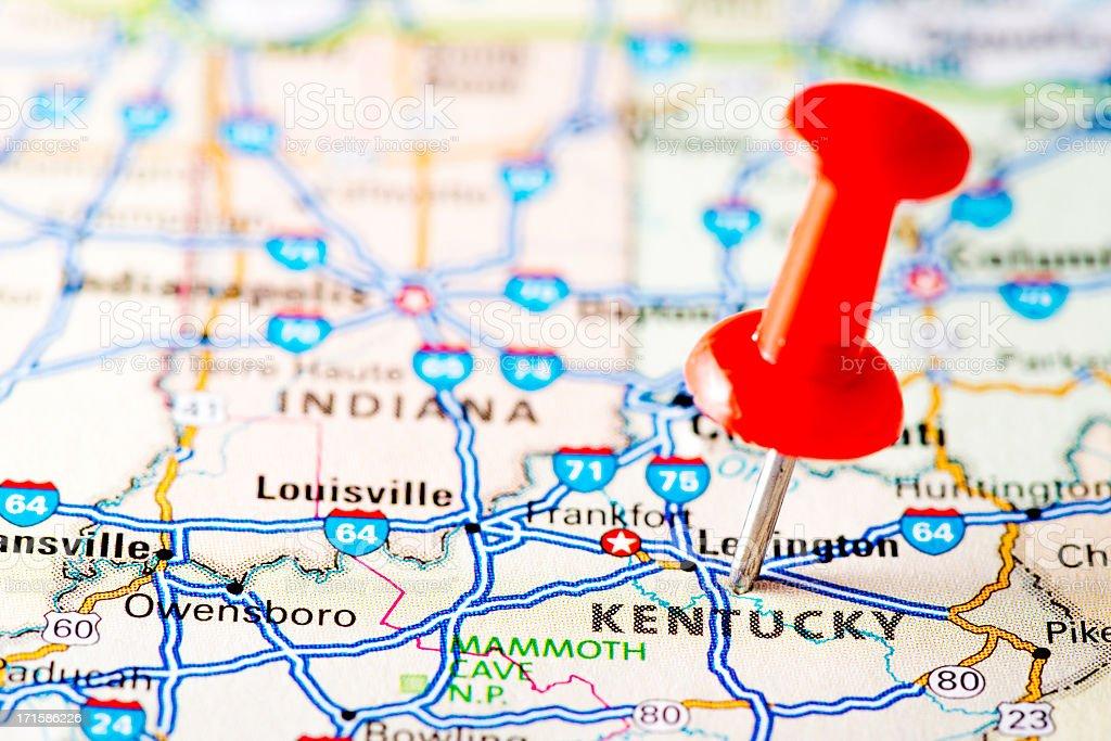USA states on map: Kentucky stock photo
