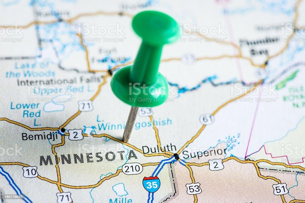 Usa States On Map Minnesota Stock Photo IStock - Usa map minnesota